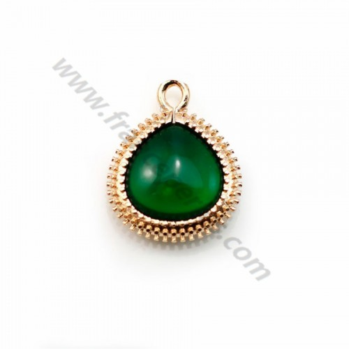 Verre coloré vert en goutte serti sur métal doré travaillé 16x19mm x 1pc