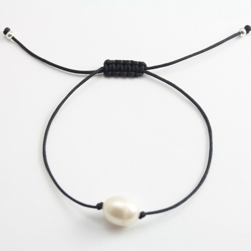 Bracelet cordon perle d'eau douce blanc