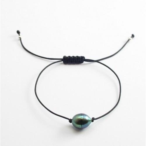Bracelet cordon perle d'eau douce grise