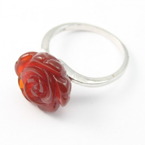 Sterling Silver Ring with Flower on Carnelian