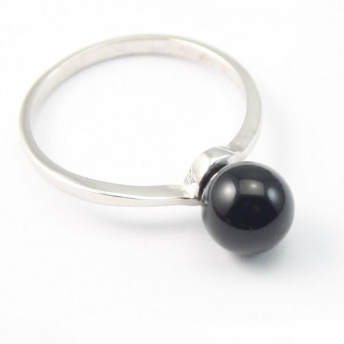 Bague ARG avec Boule en Agate Noir