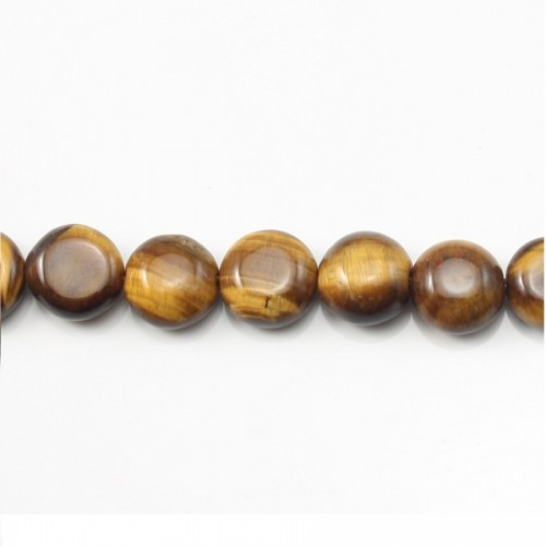 Yellow Tiger Eye Flat Round 12mm x 40cm