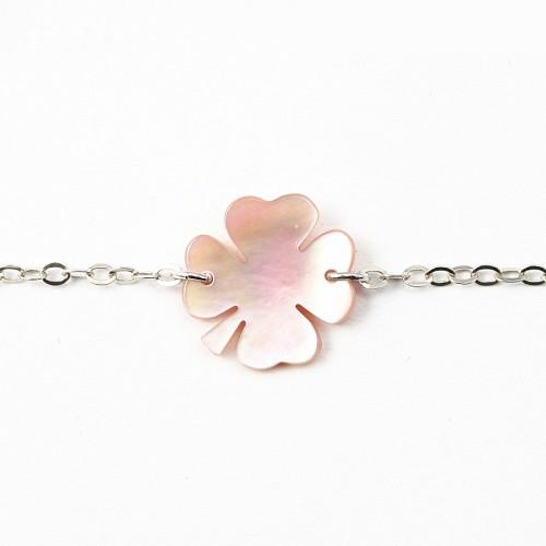 Bracelet argent 925 nacre rose fleur de 4 herbres