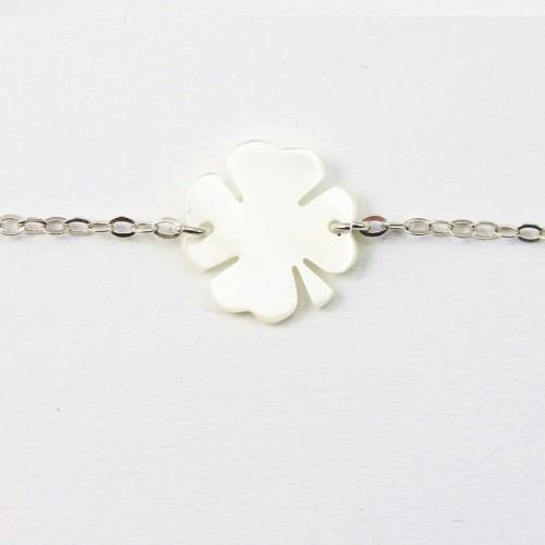 Bracelet argent 925 nacre blanc fleur de 4 herbres