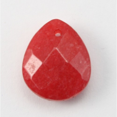 Red colored Jade  Flat drop faceted  12*15mm X 1pc