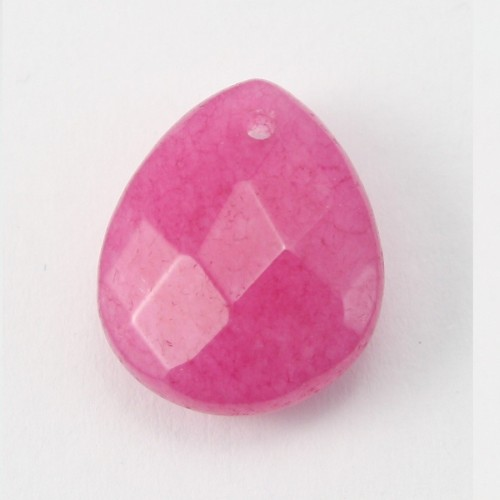 Jade colored pink Flat drop faceted  12*15mm X 1pc