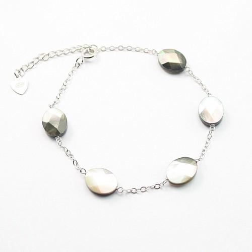 Bracelet chaîne silver 925  nacre grise