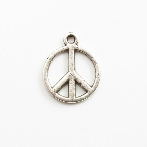Peace &love charm old silver tone 15mm x 1 pc