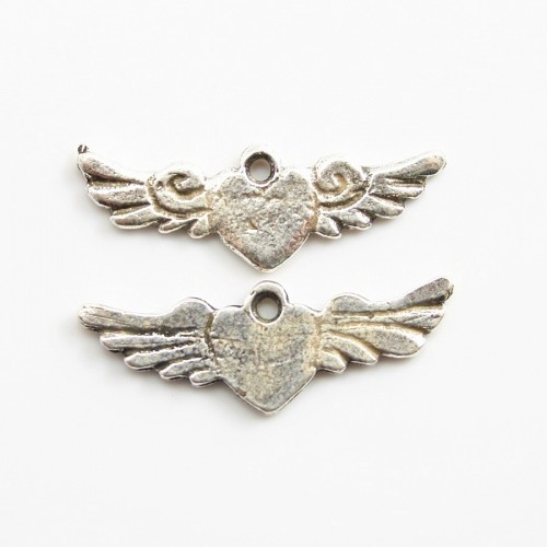 Heart with wing charm old silver tone 23*8mm x 2 pcs