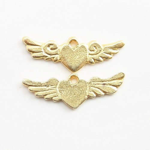 Heart with wing charm gold tone 23*8mm x 2 pcs