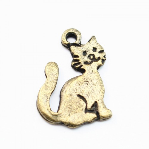 Cat charm bronze tone 15mm x 2 pcs