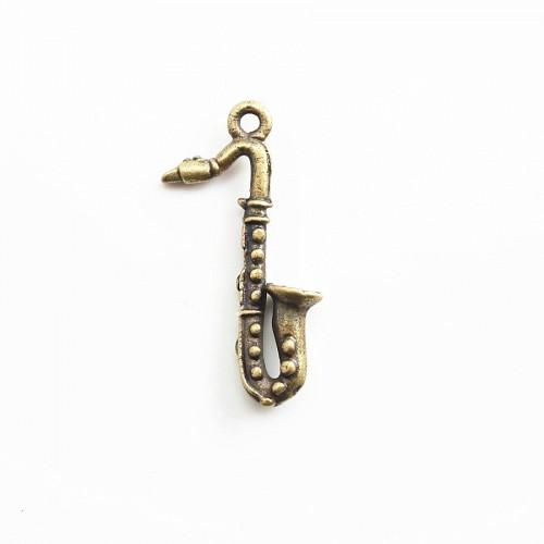 Breloque saxophone bronze 25mm x 2pc
