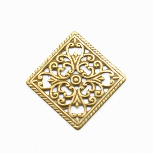 Square Filigreed bronze tone 16mm x 2pcs