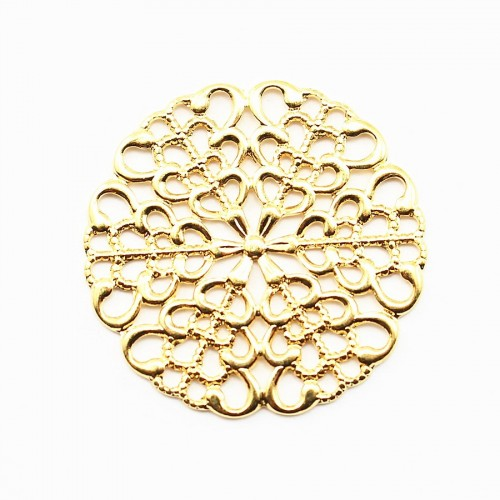 Round Filigreed gold tone 25mm x 1pc