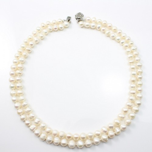White Freshwater Pearl Necklace 2 rangs