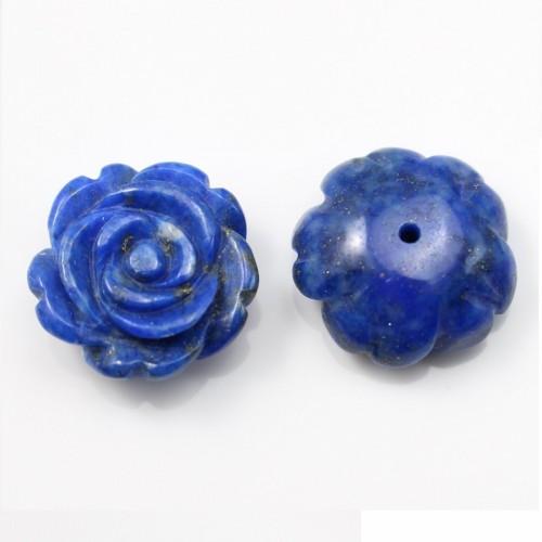 Cabochon lapis lazuli  fleur 15mm x 1pc