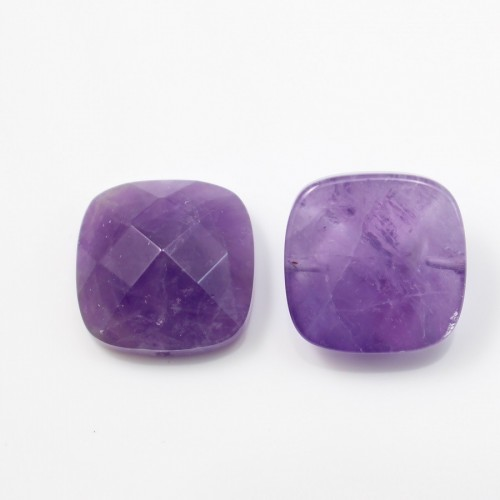 Cabochon amethyste  faceted square 14mm x 1pc