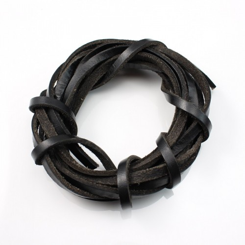 Balck lacet leather 5.0mm  x 50cm