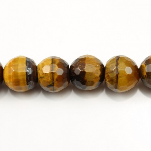 Yellow Tiger Eye Faceted Round 16mm x 40cm