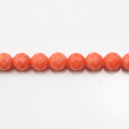 Colored Orange Faceted Round Sea Bamboo 5mm X 40cm