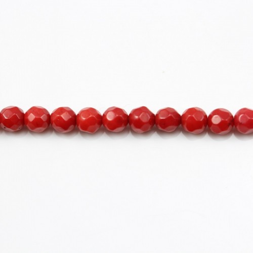 Red colored round faceted sea bamboo 3mm X 40cm