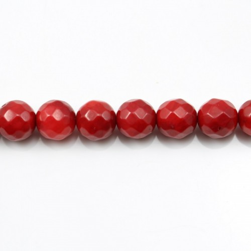 Red colored round faceted sea bamboo 8mm X 40cm