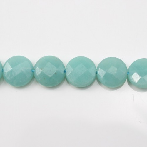 Amazonite Ronde Plate Facette 12mm x 40cm