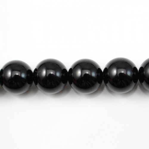 Agate Noire Ronde 12mm x 40cm
