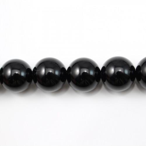 Agate Noire Ronde 14mm x 40cm