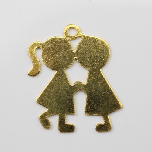 Kiss boy&girl charm golden tone 2*2.5mm x 1 pc