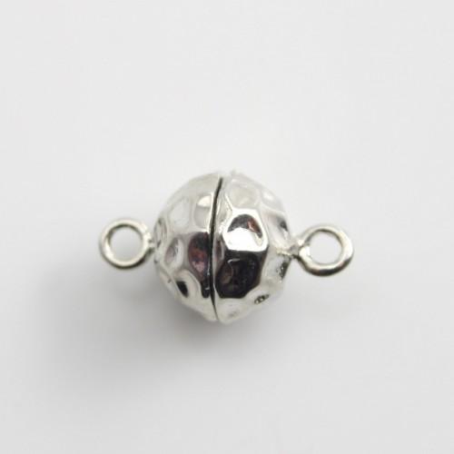 Fermoir aimanté,ronde,argenté martèle,9.5 mm x 1 pc