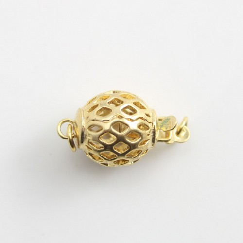 Golden  tone Clip-on clasp ,round  tracery,10mm x1pc