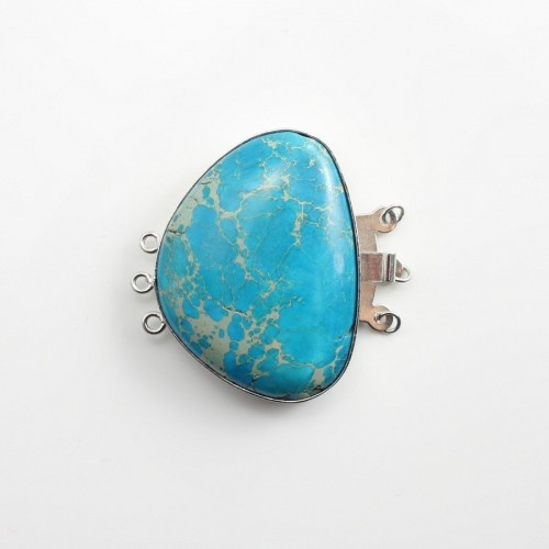 Fantaisie clasp with stone,3 strands,bleu ,30x38mm x1pc