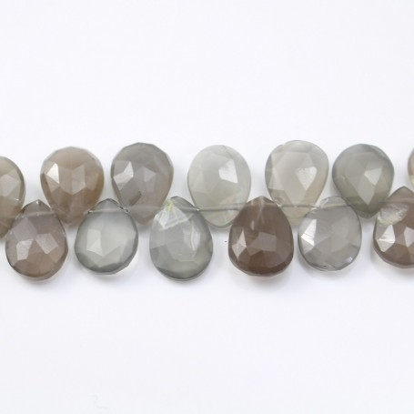 Moon stone teardrop flat faceted 8x10mm-8.5x11.5mm x 20cm