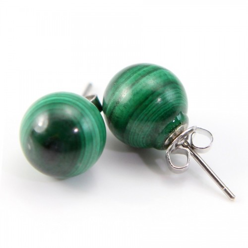 Earring :  malachite & silver 925 10mm x 2pcs