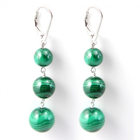 Earring Silver 925  malachite X 2pcs