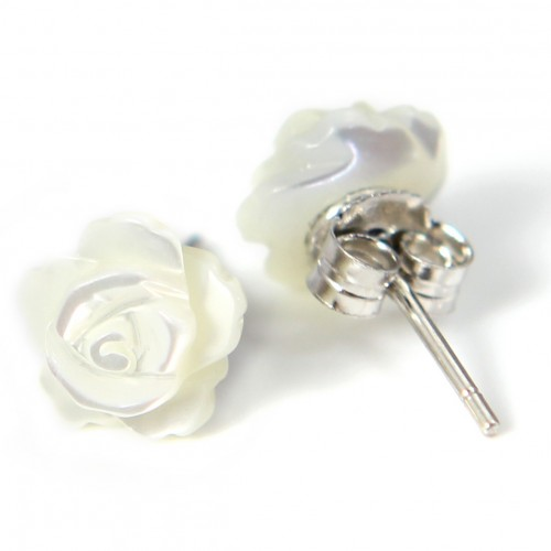 Earring : white shell  flower & silver 925 8mm x 2pcs
