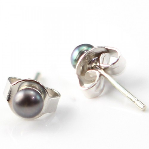 Earring silver 925 freshwater cultured pearl  4mm X 2 pcs