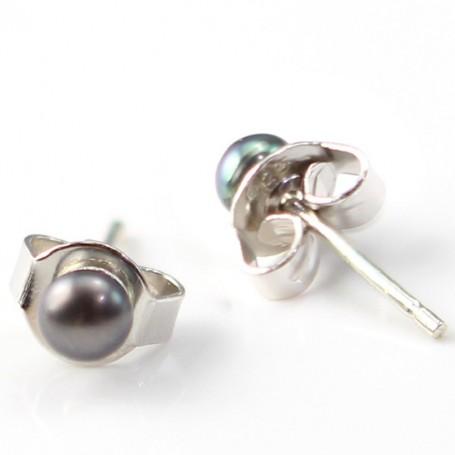 Earring silver 925 freshwater pearl  3mm X 2 pcs