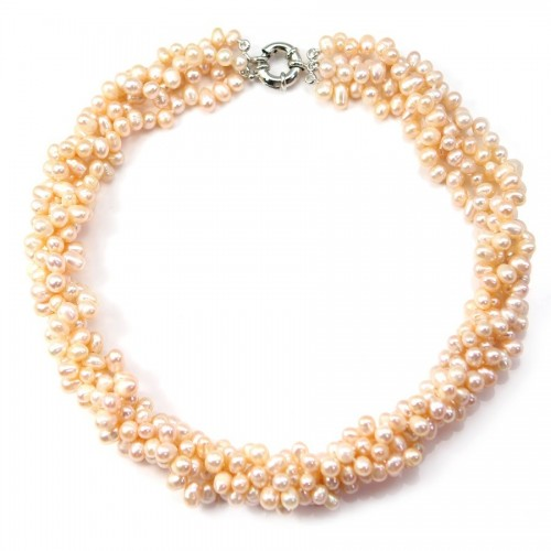 Necklace torsade salmon freshwater pearl 3 stands