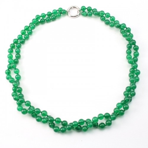 Necklace  green  agate 6.5 mmX 90cm