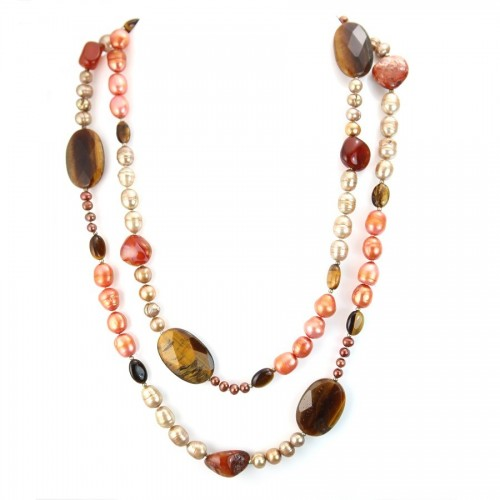 Necklace tiger eye & freshwater pearls 110cm