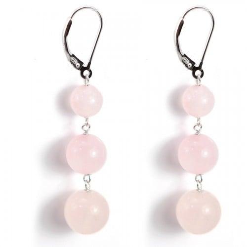 Earring Silver 925  pink quartez X 2pcs
