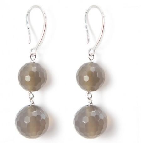 Earring silver 925 AGATE GRISE X 2 pcs