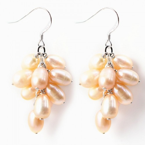 Earring  silver 925 salmon pearl freshwater in grape shape X 2pcs