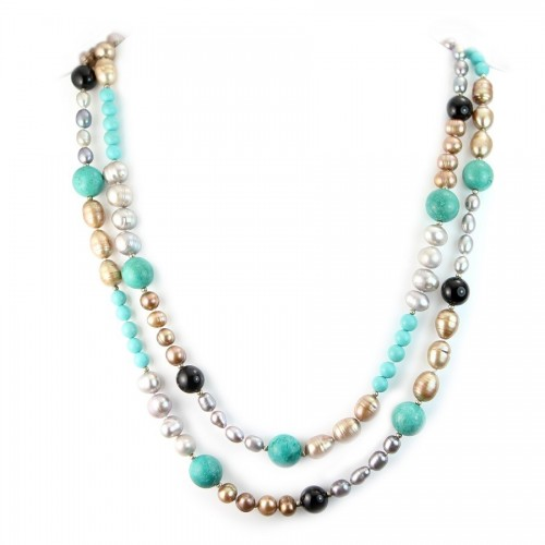 Necklace turquoise reconstitue & freshwater pearls 110cm