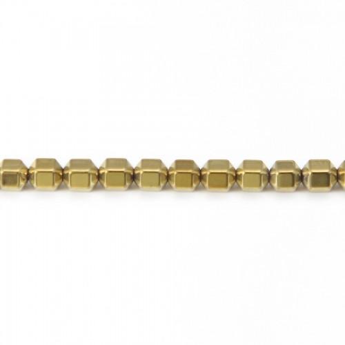 Hématite dorée cylindre 4mm x 40cm