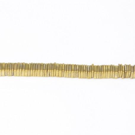 Hématite dorée carré lamelle 1x4mm x 40cm