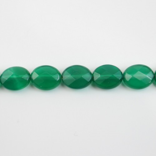 Green agate faceted oval 8x10mm x 40cm