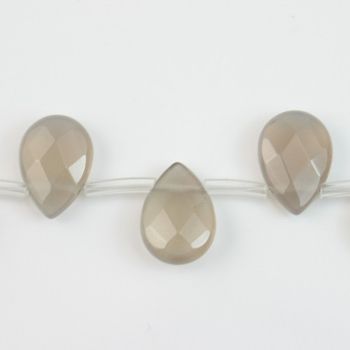 Agate tinted grey faceted dish drop 10x14mm x 40cm (28pcs)